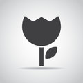 Flower icon with shadow on a gray background. Vector illustration