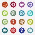Flower icons set on white background Royalty Free Stock Photo