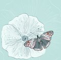 Flower illustration of beautiful butterflies flying around Royalty Free Stock Photos