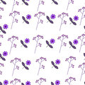 Flower illustration pattern with cute flowers purple