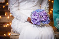 Flower on lap view of a bouquet of a lady s Royalty Free Stock Photos