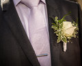 Flower in the lapel of his jacket groom Royalty Free Stock Photos