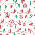 Flower leaf drawing pastel dot line horizontal seamless pattern Royalty Free Stock Photo