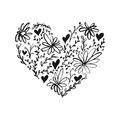Flower and leaves heart isolated on the white background. Fun brush ink illustration for photo overlays, greeting card or t-shirt