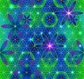 Flower of Life. Sacred geometry. Seamless pattern. Green and purple.