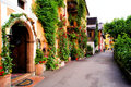 Flower lined street in the traditional austrian village of hallstatt Stock Image