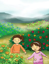 Flower and little girls illustration Stock Photo