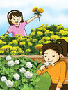 Flower and little girls illustration Royalty Free Stock Photography