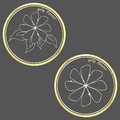 Flower logo golg on a gray background Royalty Free Stock Photo