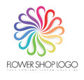 Flower logo an illustration of a business company representing rainbow petals Stock Image