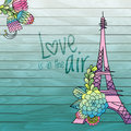 Flower love card design with eiffel tower vector Royalty Free Stock Photo