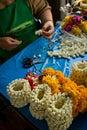 Flower maker market seller Bangkok Thailand Royalty Free Stock Photo