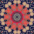 Flower - mandala. Greeting card or beautiful rug. Vector illustration Royalty Free Stock Photo