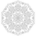 Flower mandala with hearts. Coloring page for Valentine`s