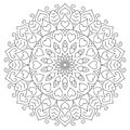 Flower mandala with hearts. Coloring page for