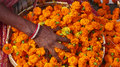 Flower market kolkata india woman selling flowers to make offerings in the mullik ghat in west bengal Royalty Free Stock Images