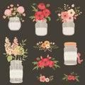Flower in mason jars.