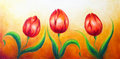Flower motive, three dancing red tulip flowers, beautiful bright colorful painting on ocre background.