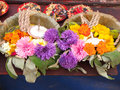 Flower offering at temple this is a traditional a hindu in kathmandu nepal these kind of offerings are found trough out asia Royalty Free Stock Photo