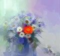 Flower oil painting.Flora Vintage color background