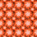 Flower orange color symmetry seamless pattern