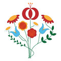 Flower ornament vector that looks like fancywork on folk costumes Royalty Free Stock Image