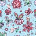 Flower pastel cat cute seamless pattern