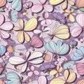 Flower pastel purple seamless pattern
