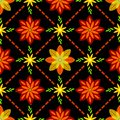 stock image of  Flower pattern on batik with black background