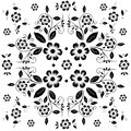 Flower pattern black and white flora on white background eps illustrator Royalty Free Stock Photo
