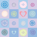 Flower pattern with hearts on a checkered background Royalty Free Stock Photo