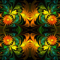 Flower Pattern. Orange, Green ...