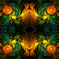Flower Pattern. Orange, Green ...