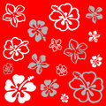 Flower pattern over red Stock Photography