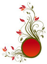 Flower pattern and red circle banner Royalty Free Stock Photo