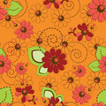 Flower pattern seamless background abstract on orange Stock Photos