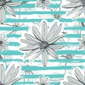Flower pattern seamless Turquoise striped background. Hand-drawn chamomile, floral backdrop