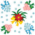 Flower pattern. Small bouquets with bows. Royalty Free Stock Image