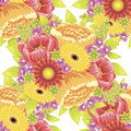 Flower pattern vector seamless background with flowers Royalty Free Stock Photo