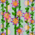 Flower pattern and vertical lines vector illustration Royalty Free Stock Photography