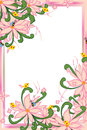 Flower pink pastel bee bird swirl green leaves frame Royalty Free Stock Photo