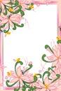 Flower pink pastel bee bird swirl green leaves frame Royalty Free Stock Photo