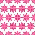 Flower pink white stroke symmetry seamless pattern