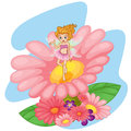 A flower pixie above a big pink flower illustration of on white background Stock Images