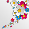 Flower poster spring pink blue and white flowers on white background Stock Photo