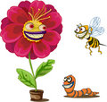 Flower pot and insects Royalty Free Stock Photo