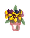 Flower-pot painted in Watercolor Stock Photo