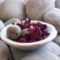 Flower potpourri zen stones Stock Image