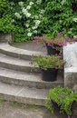 Flower pots decorating stone steps in a garden with colorful flowers Stock Photography
