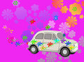 Flower Power hippie car fantasy Royalty Free Stock Photo